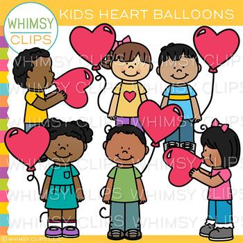 Free Kids Heart Balloons Clip Art