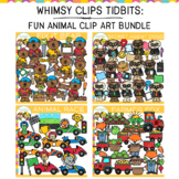 Whimsy Clips Tidbits: Fun Animal Theme Clip Art Bundle