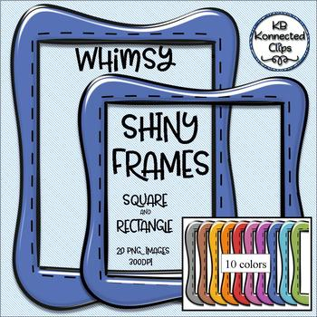 Whimsy Digital Shiny Frames - Square and Rectangle - 10 Colors!