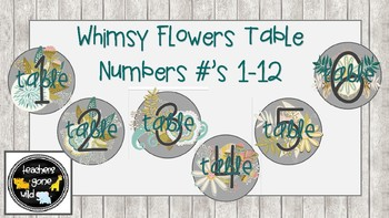 Whimsy Flower Table Numbers (Set of 12)