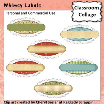 Whimsy Labels or Frames - Color - personal & commercial use