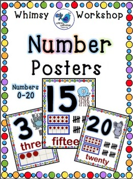 Whimsy Number Posters 0-20(Classroom Decor) Whimsy Worksho