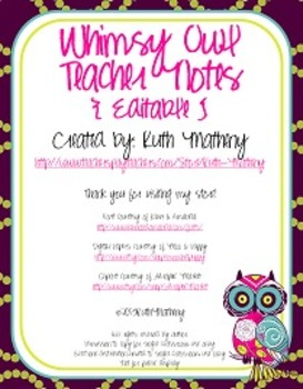 Whimsy Owl Teacher Note Set {Editable}