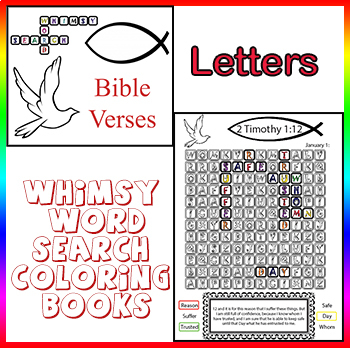 Whimsy Word Search Coloring Book, Bible Verses, Calendar, Letters