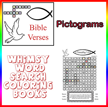 Whimsy Word Search Coloring Book, Bible Verses, Calendar, Pictograms