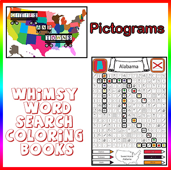Whimsy Word Search Coloring Book, Cities and Towns, Pictograms