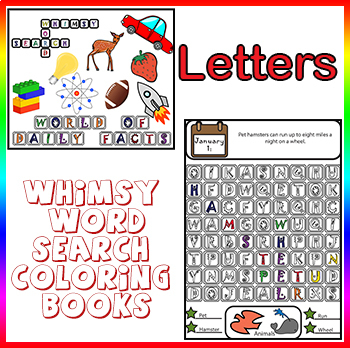 Whimsy Word Search Coloring Book, Daily Kids Facts, Letters