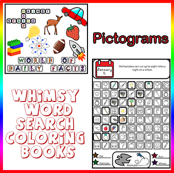Whimsy Word Search Coloring Book, Daily Kids Facts, Pictograms