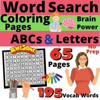 Whimsy Word Search Coloring Book, Kids ABC'S, Letters