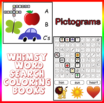 Whimsy Word Search Coloring Book, Kids ABC'S, Pictograms