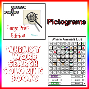 Whimsy Word Search Coloring Book, Large Print, Pictograms