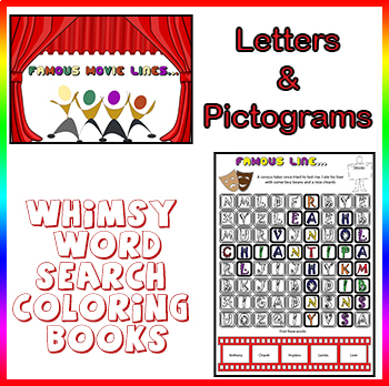 Whimsy Word Search Coloring Book, Movies, Letters and Pictograms