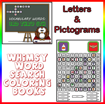 Word Search Coloring Puzzles - Vocabulary Words, 3rd, 4th & 5th Worksheets