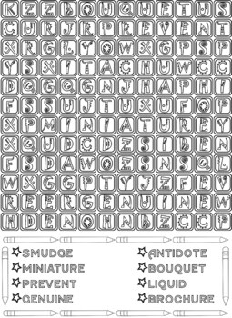 Word Search Coloring Puzzles - Vocabulary Words, Middle School Worksheets