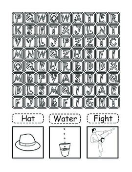 Word Search Coloring Puzzles - Vocabulary Words, Pre-K, 1st, 2nd Worksheets