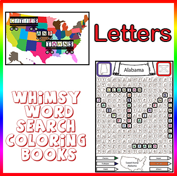 Whimsy Word Search Coloring Books, Cities and Towns, Letters