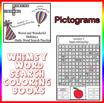 Whimsy Word Search Coloring Books: Weird and Wonderful Holidays, Pictograms