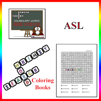 Whimsy Word Search, High School Vocabulary Words – Daily Calendar - in ASL