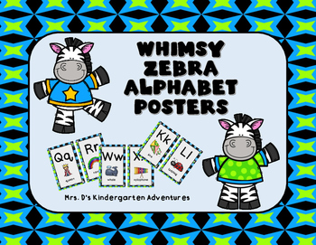 Whimsy Zebra Alphabet Posters