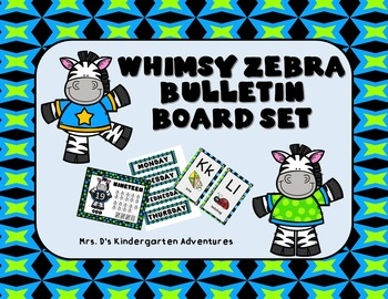 Whimsy Zebra Bulletin Board Set