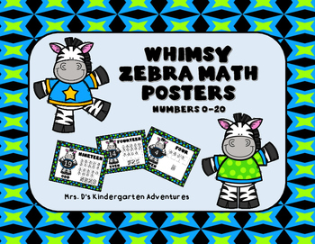Whimsy Zebra Math Posters - Numbers 0-20