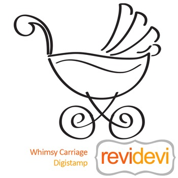 Whimsy carriage (digital stamp, coloring image) S045, baby carriage