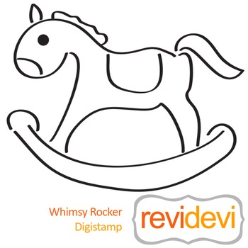 Whimsy rocker (digital stamp, coloring image) S046, rocking horse