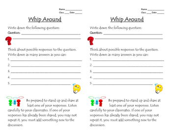 Whip Around Graphic Organizer