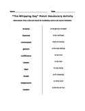Whipping Boy Activity Sheet Match the Vocabulary ord to it