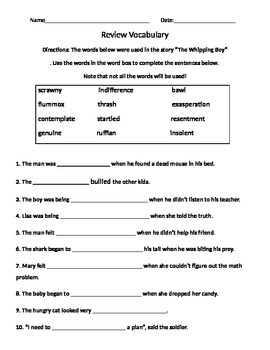 Whipping Boy Chapter Book Fill in the Sentence Activity Sheet & Answer Sheet