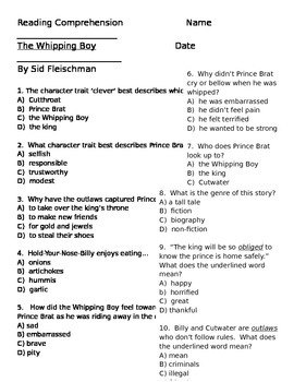 Whipping Boy Comprehension Questions