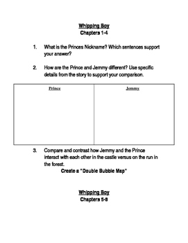Whipping Boy Questions & Handout