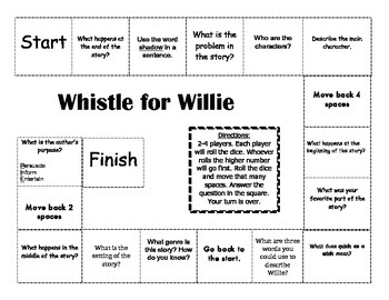 """Whistle For Willie"" 1st grade Journeys Comprehension Game Board"