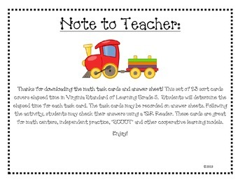 Whistle Stop Elapsed Time Task Cards