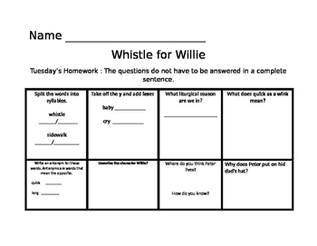 Whistle for Willie Common Core Journeys