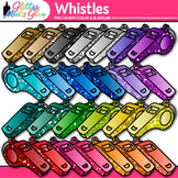 Rainbow Whistle Clip Art {Glitter Sports Equipment for Gym