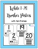 White 1-20 Number Posters