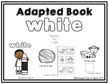 White Adapted Book for Preschool, Pre-K and Special Needs