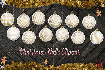 White And Gold Christmas Clipart, Gold Christmas Balls, X-Mas Tree Decoration