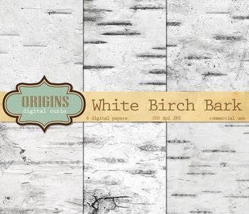 White Birch Bark Digital Paper Backgrounds