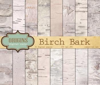 White Birch Bark, Wood Digital Paper Backgrounds Textures