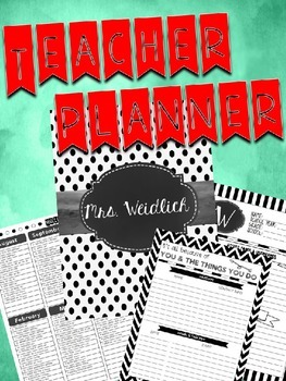 Teacher Planner White & Black Polka Dot