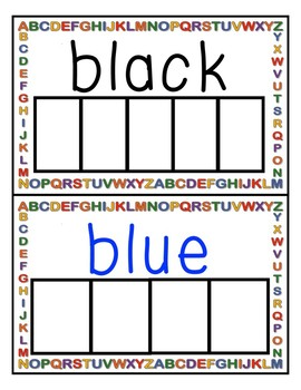 Writing practice colour/color Words (white board style)