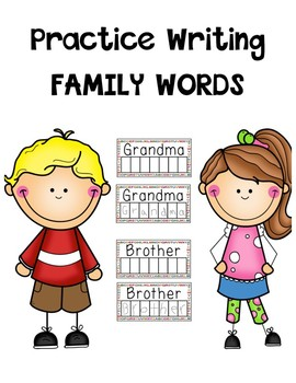 Writing practice family Words (white board style)