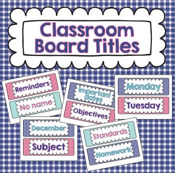 White Board Titles to Organize