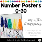 White & Bright Polka Dots Number Posters 0-30 Classroom Decor