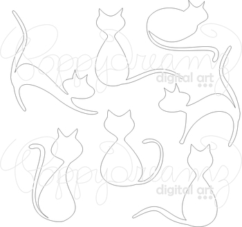 White Cats Clipart by Poppydreamz