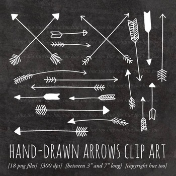 White Chalkboard Arrows Clip Art, Doodle Arrows for TpT Sellers