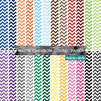 White Chevron Pattern Digital Paper