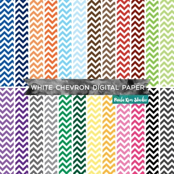 White Chevron Pattern Digital Paper